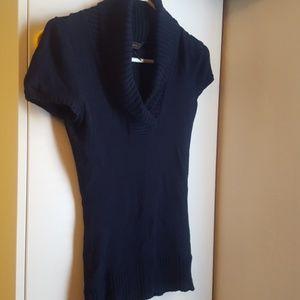 Bcbg navy blue short sleeve cowl v-neck sweater XS